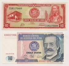 Two Banco Central De Reserva Del Peru Banknotes--Pristine Condition !