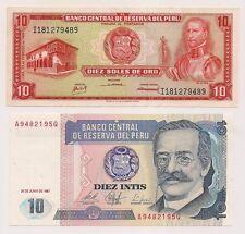 Two Banco Central De Reserva Del Peru Banknotes--Pristine Condition !