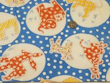 Vintage Feedsack Fabric: Calico Animals on Blue, White Polka Dots 20x37 in.