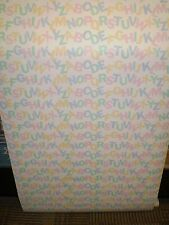 Baby Multi-Color Pastel Alphabet Letters on White Wallpaper K-22363