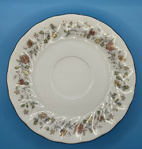 Sheffield Bouquet Pattern Footed Saucer Silver Trim Fine China Japan Set Of 4