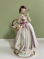 Lovely Hand Painted Lefton Lady Figurine Basket Flowers Fan Kw584 Japan