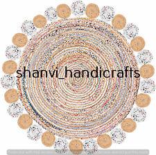 Multi Colour Hand Braided Natural Handmade Jute & Cotton 9 Feet Area Rugs Carpet