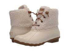 Sperry Top-Sider Saltwater Cozy Sherpa Duck Boots Waterproof Zip Off White 11