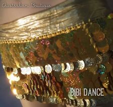 Belly Dance Costume / Shiny Gold sequin Coin Hip-scarf, Bellydance