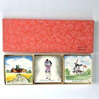 """Vintage Folk Art Hand Painted Denmark Ceramic Tile Trivets Coasters 3"""" Set of 6"""