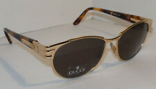 VINTAGE NEW GUCCI GOLD SUNGLASSES! TORTOISE SHELL ARMS! NOS! 55□17 135 ITALY!