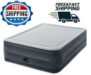 Intex Raised 22 Queen Size Air Mattress With Built In Pump Bed Camping Matress