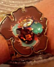 Flower Crystal Enamel Hand Painted Cuff Bangle Bracelet