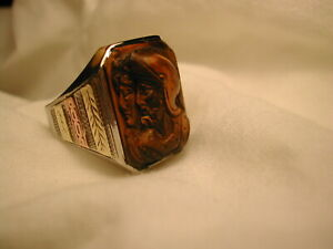 Vintage Carved Double Knight Onyx Cameo Ring 10K Wh Gold + Rose @ Yellow Gold