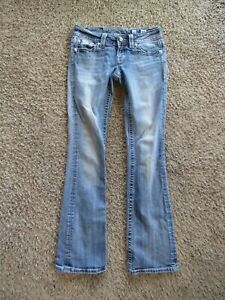 Miss Me Boot Jeweled Silver Top Stitched Med Wash Women's Denim Jeans Size 26