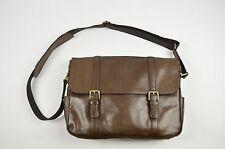 FOSSIL Men`s Tan Brown Leather Satchel Shoulder Crossbody Big Laptop Bag Strap
