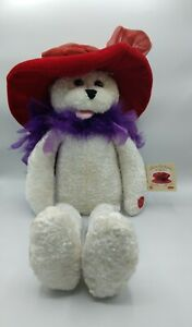 """Chantilly Lane Musical Singing Bear Plush Red Hat Society 22"""" with Tags"""