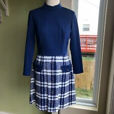 Vintage Retro 70's Teena Paige Mod Dress Front Pockets Long Sleeves S M