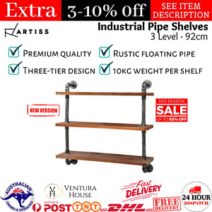 Rustic Industrial DIY Pipe Shelf Solid Timber 3 Level 92cm Wall Mounted Shelves