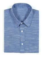 Hommes/Homme Grand-Père / Col Chemises Coton Bleu Classique Demi Manche