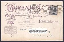 PARMA CITTÀ 161 BORSARI PROFUMI VIOLETTA Cartolina COMMERCIALE viaggiata 1928
