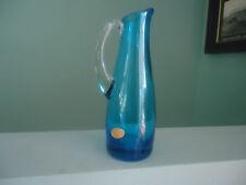 vintage retro blue art glass jug or vase with label foreign japan bohemian