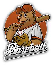 "Baseball Bear Car Bumper Sticker Decal 4"" x 5"""