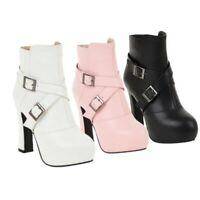 Details about  /Women/'s Non-Slip Biker Block Heel Round Toe Zip Up Ankle Boots Shoes 41 42 43 L