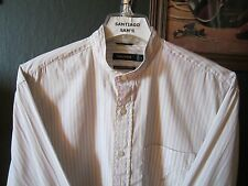LARGE 16.5-34 FINE COTTON NAUTICA CLIPPER STRIPE BANDED COLLARLESS WESTERN SHIRT