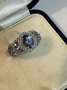 925 Silver Simulated Tanzanite & Cubic Zirconia Dress Ring Size L 1/2 4.1 Grams