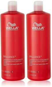 2 Wella Professionals Brilliance Fine To Normal Colored Hair Conditioner 33.8 Oz