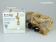 V-TAC LAMPADARIO IN CORDA STILE VINTAGE CON PORTALAMPADA PER LAMPADINE LED E27