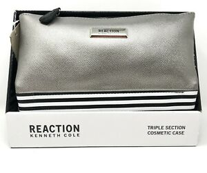 Kenneth Cole REACTION Triple Section Silver Color Cosmetic Case - New!