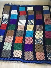 Afghan Blanket Handmade Granny Square Crochet 56x62 Multi Color