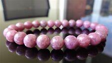 "Genuine Plum Lepidolite Bead Bracelet for Men (Stretch) 8mm AAA Quality 8"" inch"