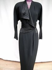 VTG - DAY MOR Couture Black Long Some Beading Full Wrap Column Evening Gown Sz 8