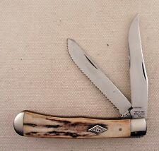 Schatt And Morgan C&W Queen Cutlery Trapper Stag Handle W/ Ripple blade