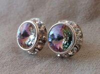 HYPOALLERGENIC Stud Earrings Large Swarovski Crystal Elements Vitrail Light