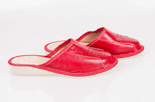 Womens Ladies 100% Red Leather Slippers Mules Clogs All Sizes