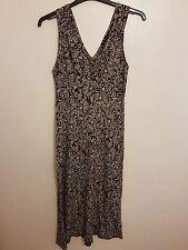 BHS - Ladies Womens Girls Brown & Cream Patterned Sleeveless Dress Size 12