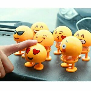 Emoji Spring Shaking Head Dolls Toy for Car Dashboard & Home Decor Smiling Face