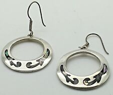 Vintage Taxco Sterling Silver Abalone Shell Inlay Earrings Dangling Round Disk