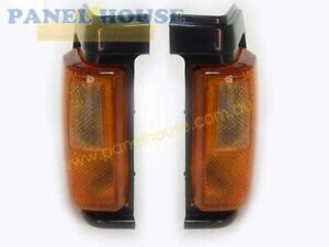 Nissan Navara D21 Ute 86-90 PR 1xLH 1xRH Black Trim Corner Indicator Lights New
