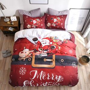 3D Print Christmas Quilt Cover Pillow Cases Set Snowman Santa Claus All Size New