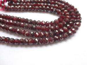 4x6mm Faceted Rondelle Natural Red Garnet Semi Precious Gemstone Beads, 45 Beads