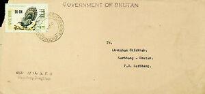 BHUTAN 1971 BIRD 20ch S/C ON COVER TO SARBHANG W/ CACHET