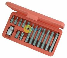 "15pc Star Torx E Bit Male T20 T25 T30 T40 T45 T50 T55 Socket Set 1/2"" Adapter"