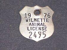 Vintage Dog Tax Tag Wilmette Illinois IL Animal License year 1976 #2495    DN24