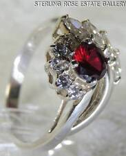 RUBY & DIAMONIQUE CUBIC ZIRCONIA STERLING SILVER 0.925 ESTATE COCKTAIL RING sz 9