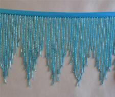 "Teal  5"" Glass silver cast, chevron beaded fringe with sm bugles  #456/23"
