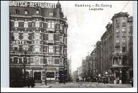 HAMBURG St. Georg Lange Reihe Strassen Partie am Hotel Gautsch (Reprint-AK)