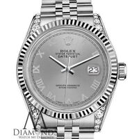 Rolex 26mm Datejust 18K Gold Stainless Steel Slate Grey Roman Numeral Dial Watch