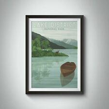 More details for lake district national park travel poster green - framed  - bucket list prints
