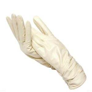 Classic Wedding Women's Leather Gloves White Autumn Winter Warm Party Solid Fash